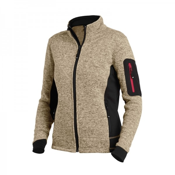 MARIEKE Strick-Fleece-Jacke Damen, beige-schwarz