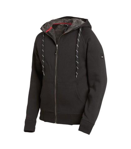 JÖRG Sweater-Jacke mit Kapuze und Webpelz, schwarz