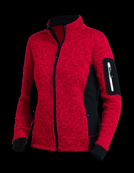 MARIEKE Strick-Fleece-Jacke Damen, rot-schwarz