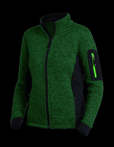MARIEKE Strick-Fleece-Jacke Damen, grün-schwarz