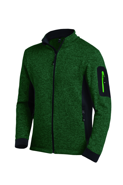 CHRISTOPH Strick-Fleece-Jacke Herren, grün-schwarz