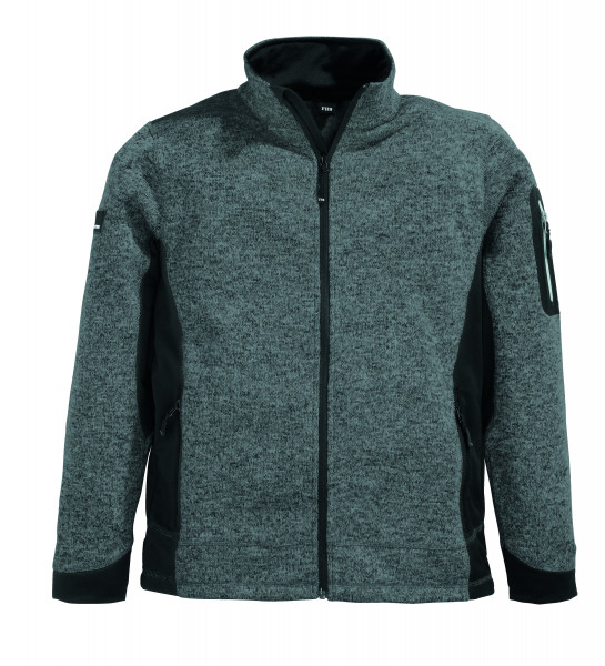 CHRISTOPH Strick-Fleece-Jacke Herren, anthrazit-schwarz