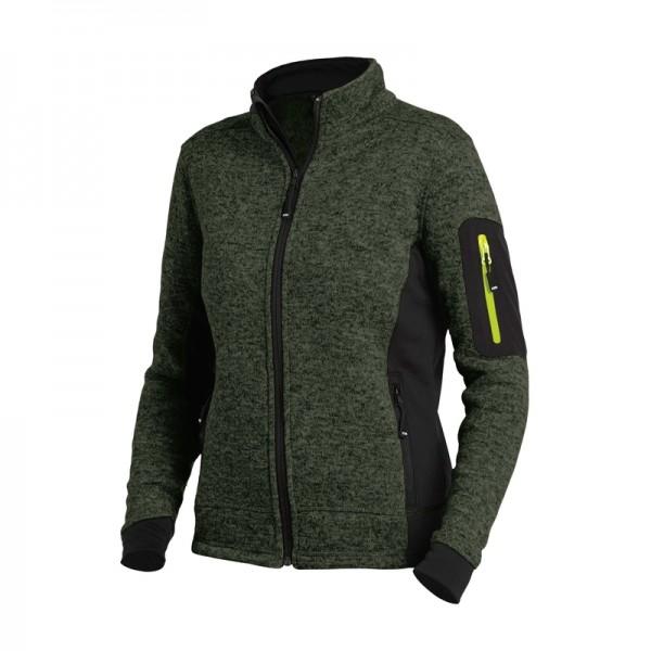 MARIEKE Strick-Fleece-Jacke Damen, oliv-schwarz